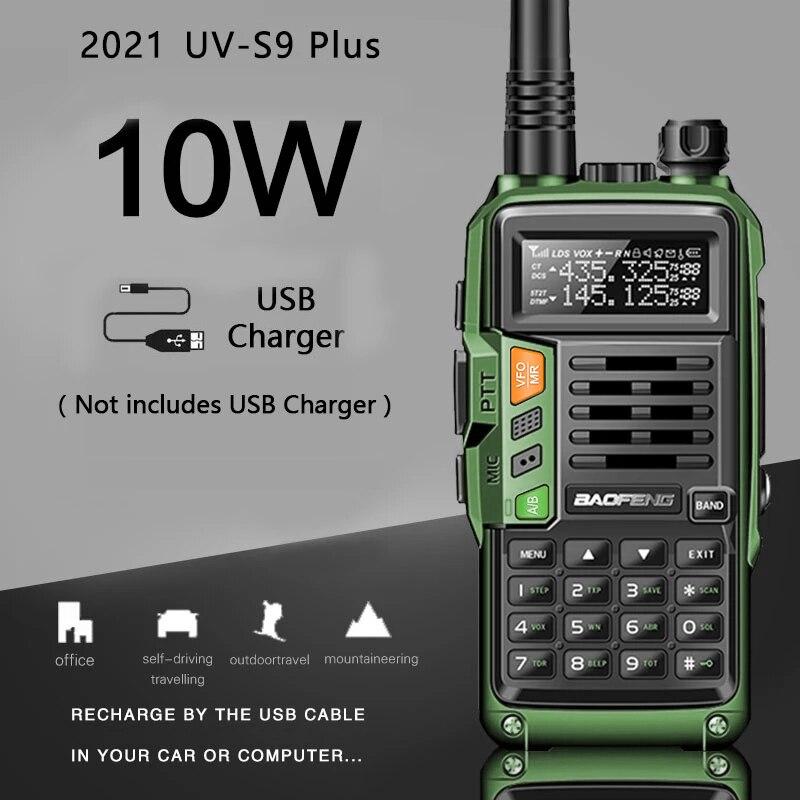 2021 جديد BaoFeng UV-S9 زائد قوية اسلكية تخاطب CB جهاز الإرسال والاستقبال اللاسلكي 10 واط 50 كجم طويلة المدى المحمولة ل هانت الغابات ترقية