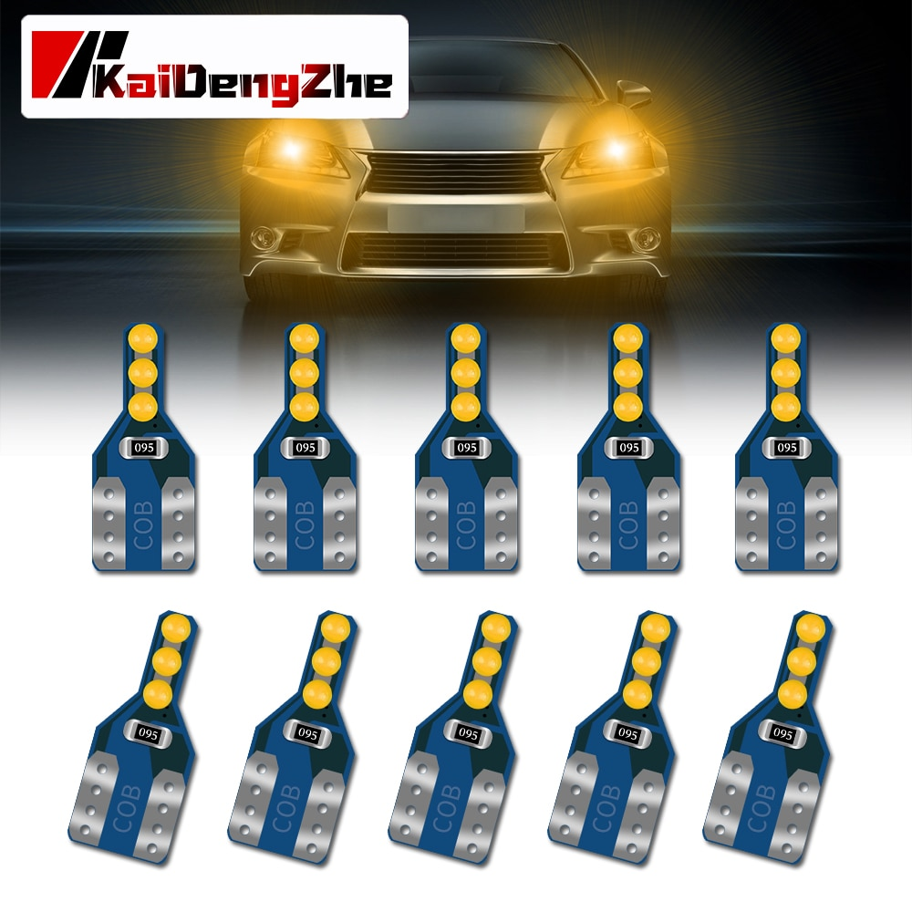 10pcs LED W5W T10 194 168 W5W COB 6SMD Car LED Parking Bulb Auto Wedge Clearance Lights Car Interior Light License Light