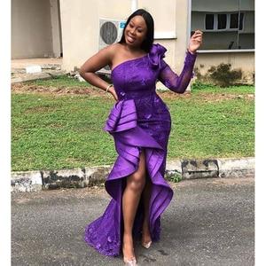 Evening Dresses Tiered abendkleider Purple Long Prom Dresses Applique One Shoulder Sleeve Evening Dresses vestido de festa 2021