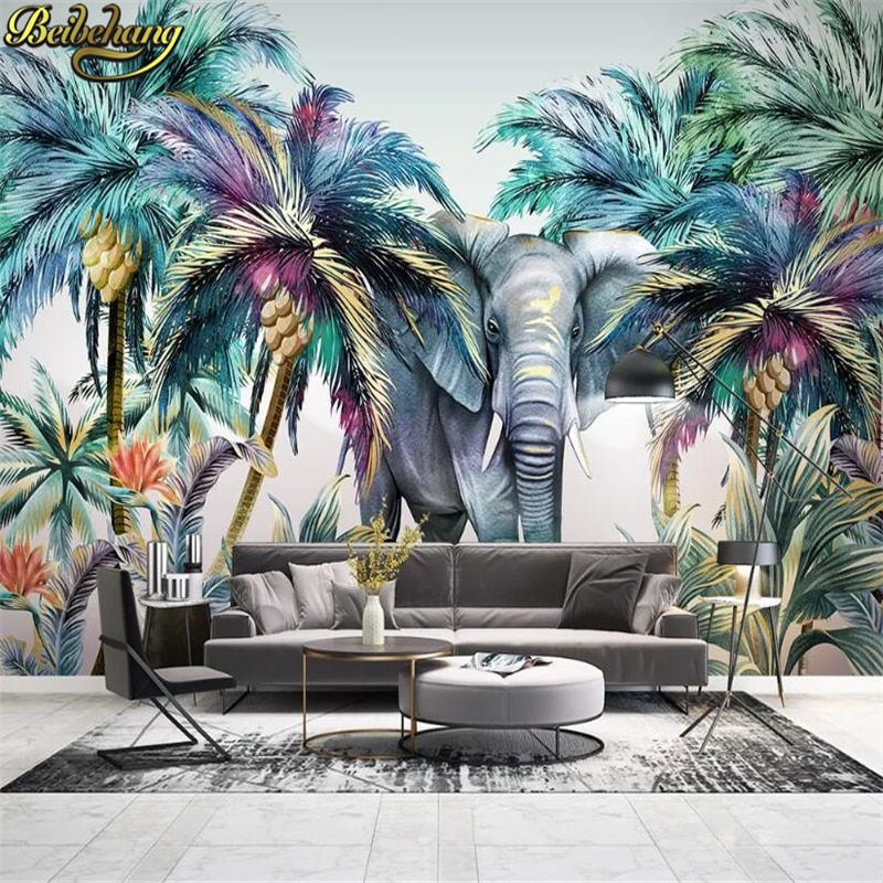 beibehang custom european damascus wallpapers for living room photo mural wall papers home decor 3d wallpaper for bedroom walls beibehang Custom Tropical jungle elephant Wall Mural Wallpaper For Bedroom Photo Background Wall Papers Home Decor Living Room