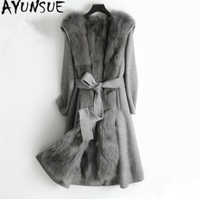 AYUNSUE-Manteau de fourrure de renard véritable   Manteau dhiver en laine véritable pour Femme, manteaux de laine à Double face, veste chaude longue, Manteau Femme