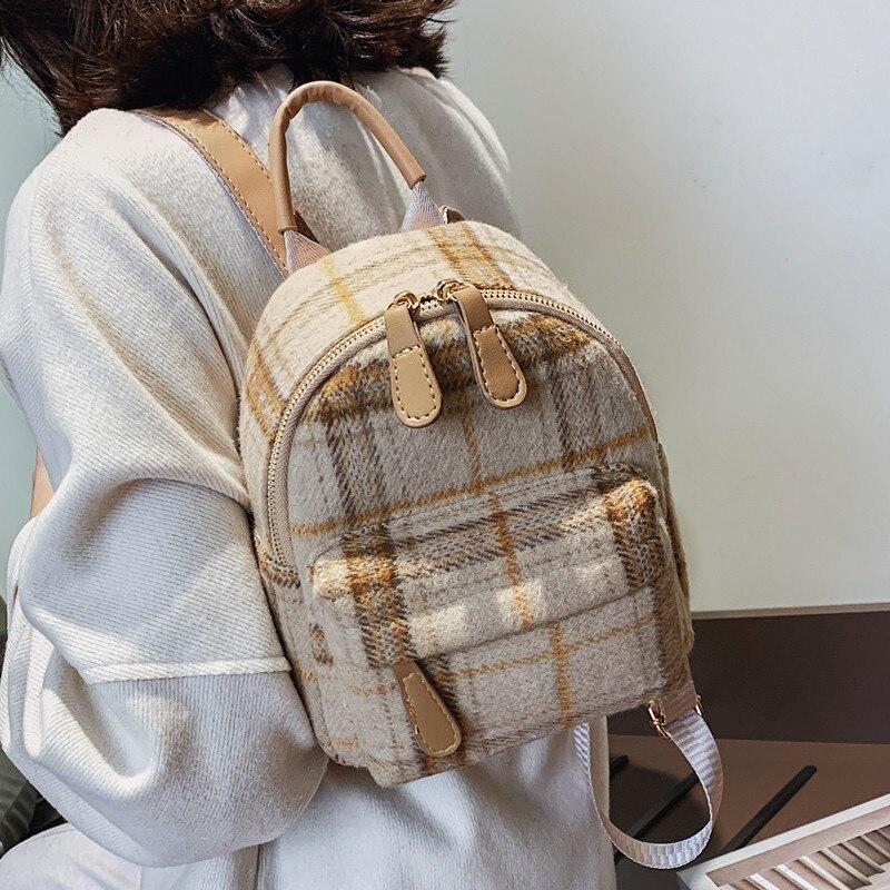 Осенний клетчатый рюкзак для женщин, новинка 2020, сумка на плечо, женские маленькие рюкзаки, шерстяные рюкзаки, мини