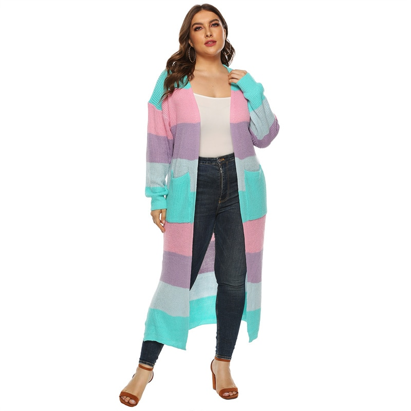 Fioncrow Striped Cardigan Sweater 2021 Plus Size Autumn Winter Women's Round V-neck Multicolor Casual Medium Long Sleeved Top
