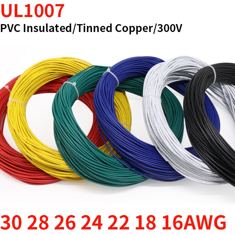 AliExpress - 2M UL1007 PVC Tinned Copper Wire Cable 16/18/20/22/24/26/28/30 AWG White/Black/Red/Yellow/Green/Blue/Gray/Purple/Brown/Orange
