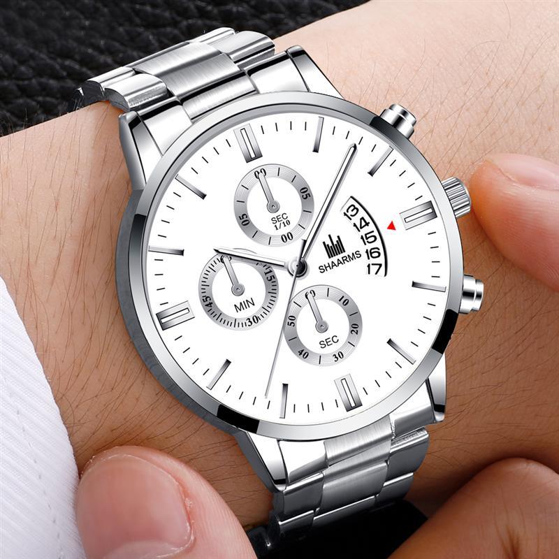 2021 Men luxury business Military Quartz watch golden stainless steel band men watches Date calendar male clock Relogio direct