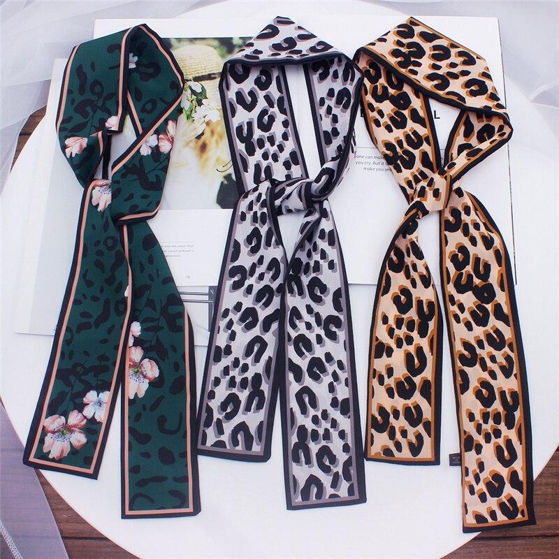 Double-Sided Leopard Print Small Scarf Flat Angle Silk Scarf Women New Style Tied Bag Skinny Wrist Ribbon Streamer Headband M1 leopard print skinny scarf