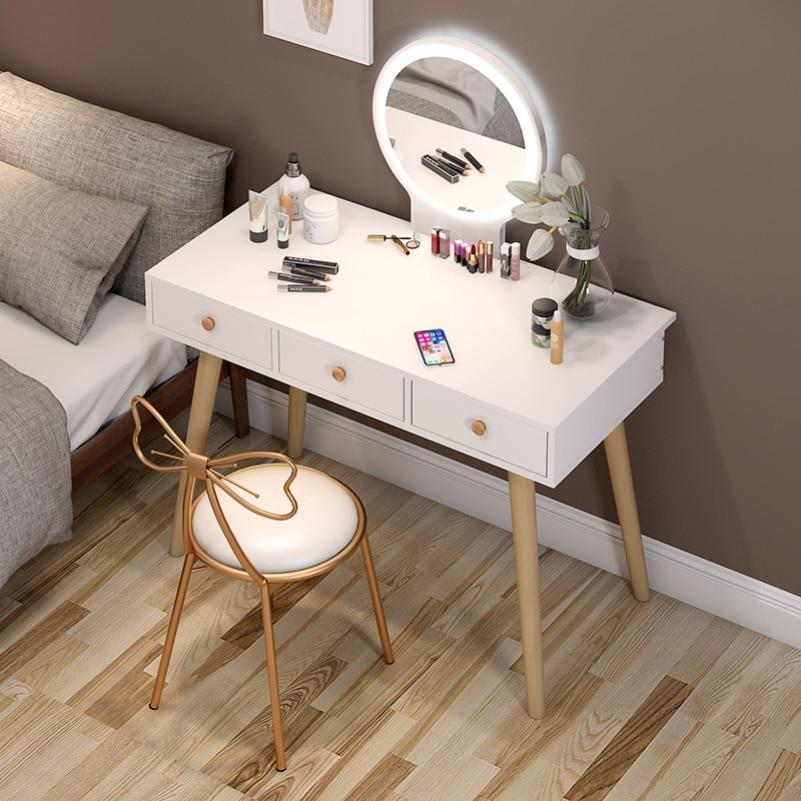 Туалетный столик для спальни маленькой квартиры скандинавский туалетный столик для хранения современный простой шкаф для макияжа сетчаты...