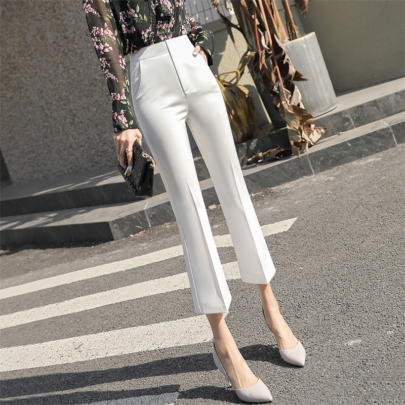 White Micro Bell-Bottom New 2021 Spring and Summer Fashion Women's Pants High Waist Drooping Profess