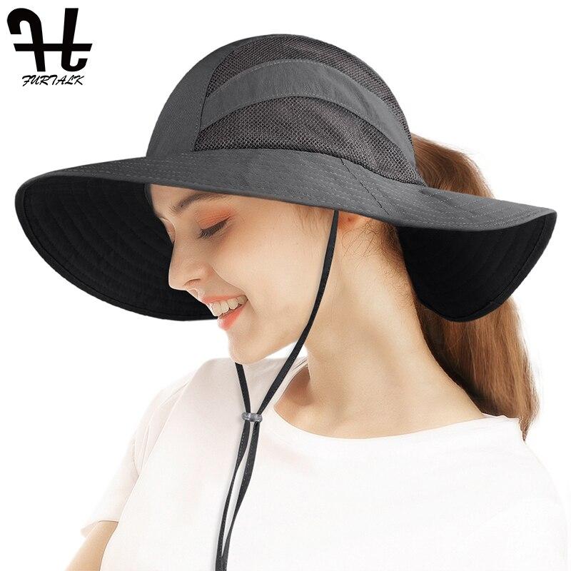 FURTALK, летняя Солнцезащитная шляпа, Женский хвостик, пляжная шляпа с широкими полями, сафари, УФ-защита, летняя кепка для пеших прогулок, шапки...