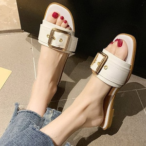 Women Flat Slippers Slip On Buckle Ladies Slides Leisure Comfort Beach Footwear Pu Leather Slippers For Girls Summer 2021
