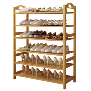 Space Saving Bamboo Shoe Stand Large Storage Shoe Rack Organizer for Family/Home 3/6 Tiers Multiple Use Shelves