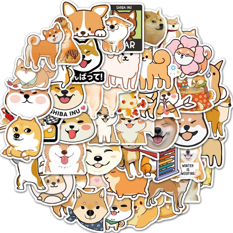 Adesivi carini Kawaii adesivi per cani Shiba Inu Akita adorabili diario fai-da-te Scrapbook adesivo per cartoni animati per bagagli adesivi per telefoni cellulari