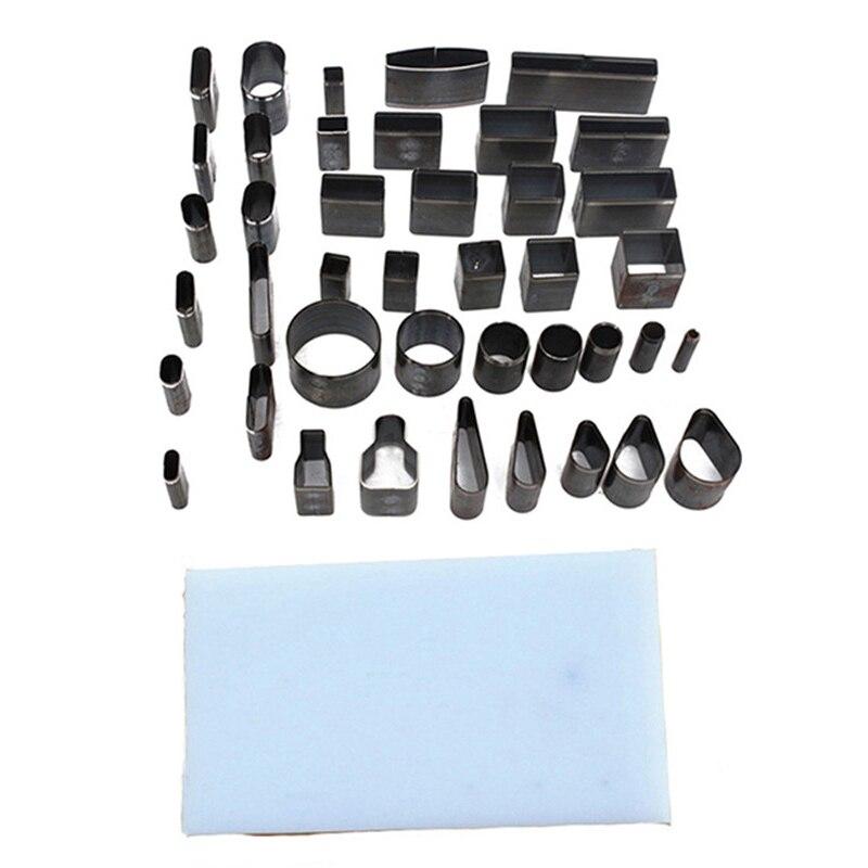 Cuero artesanal Diy 39 forma de estilo agujero hueco cortador perforador + Pad Set para teléfonos Camara