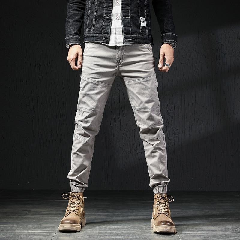 Модные мужские джинсы в Корейском стиле, облегающие Дизайнерские повседневные брюки-карго с соединением, уличная одежда, Джоггеры в стиле х...