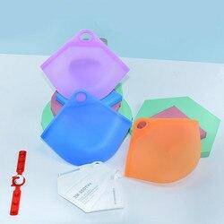 100 pçs/lote Portátil Rosto Máscaras de silicone Tampa À Prova de Poeira E à prova de Umidade-Caso o Titular De Armazenamento Organizador Saco Isolar bactérias