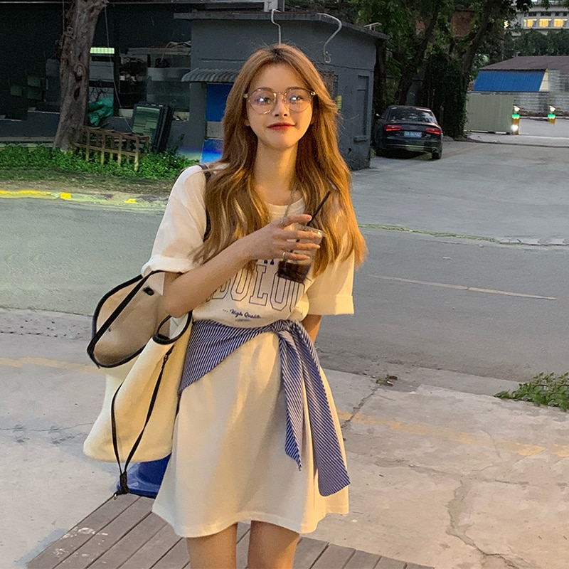 Summer Korean Style 2021 New Loose Mid-Length Blouse Missing Sweet Cool Letters Short Sleeve T-shirt
