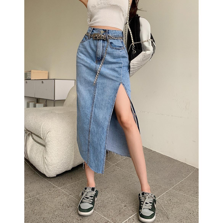 Summer Women's Skirt Fashion High Waist Zipper Pocket Split Denim Skirts Vintage Faldas Harajuku Lon