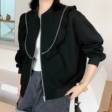 Autumn 2021 New Women Casual Jacket Solid Color Ruffle Zipper Round Neck Loose Long Sleeve Black Lad