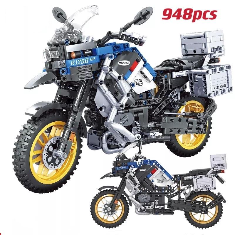 948 pçs cidade criador moc high-tech aventura motocicleta carro technica blocos de construção 16 moto carro de corrida tijolos brinquedos para criança