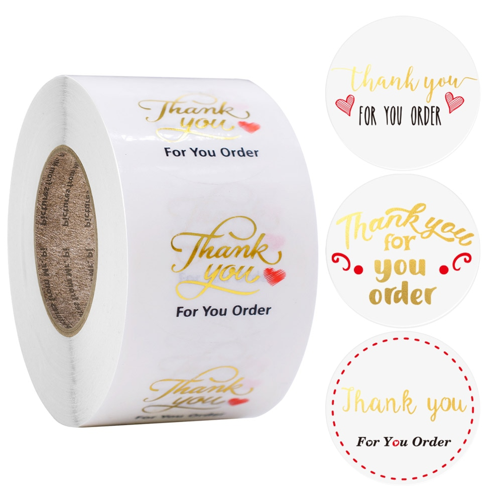 500Pcs/Roll Thank You Stickers Seal Labels For Small Shop Package Thank You For Your Order Stickers Scrapbook Stationery Sticker 500pcs pack thank you stickers gloss stickers round stationery thank you for your order seal labels thank you sticker