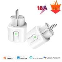 1 2 5 8 PIECES 16A Wifi Prise UE  Minuterie  Tuya Smart Vie APP Moniteur Economiseur Denergie Prise Alexa Google Home  Domotique