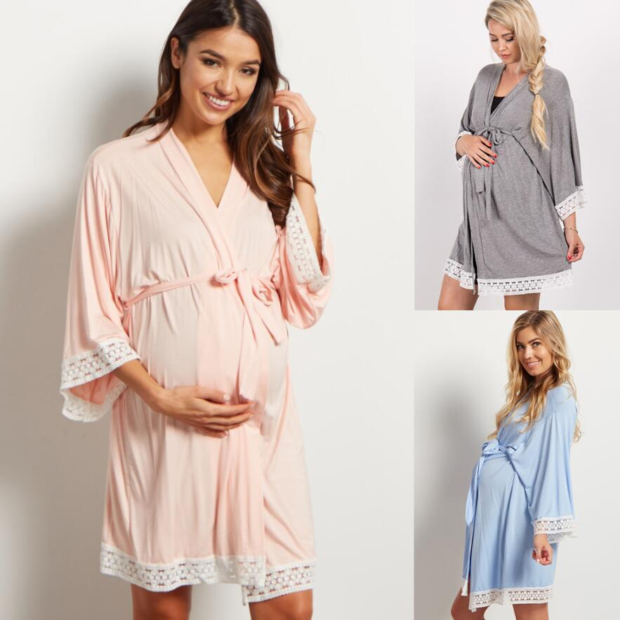 2021 Netherlands Pregnancy Maternity Pajamas Sleepwear Nursing Breastfeeding Nightgown Elegant Nursing Dress Maternity Robe