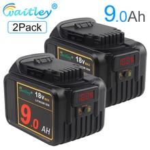 Waitley 2PCS 18V 9.0Ah MAX Replacement Lithium Ion Battery for Dewalt  XR Li-Ion 18V Tools and 20-Volt Max tools 9000mAh DCB184