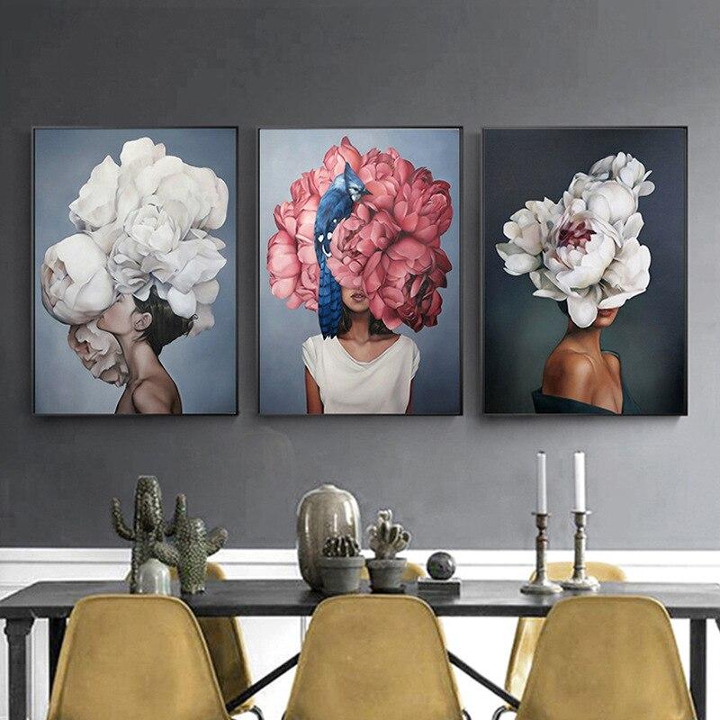Декоративная живопись, цветы, перья, женщина, Абстрактная Картина на холсте, настенный художественный постер, картина для гостиной, украшение для дома Рисование и каллиграфия      АлиЭкспресс
