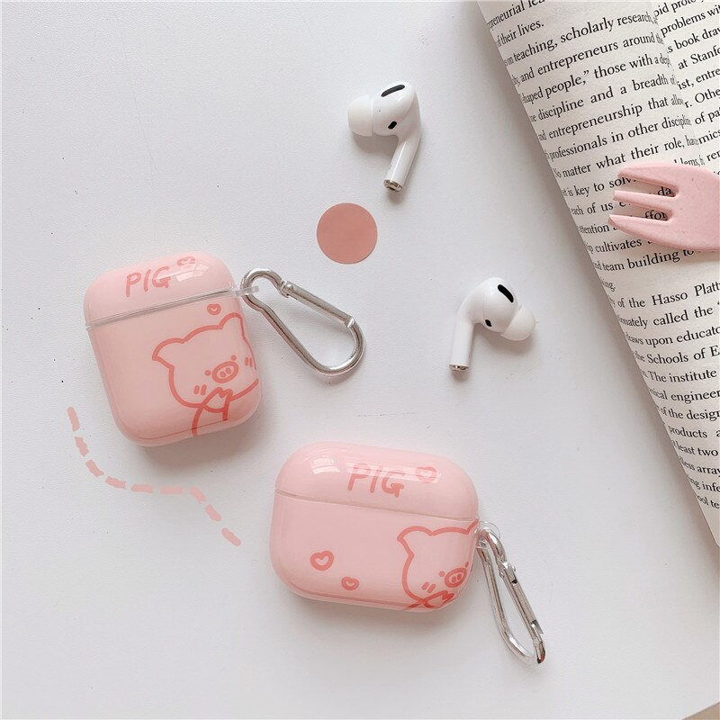 Funda de auriculares inalámbricos Bluetooth con dibujos de conejo púrpura Rosa cerdo brillante para Apple Airpods 1 2 Pro estuche de carga