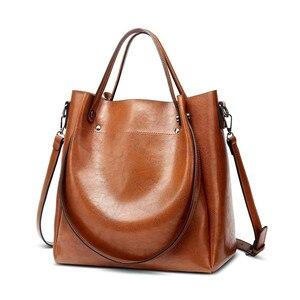 Female Bags Casual Tote Shoulder Bag PU Leather Ladies Bucket Handbag Messenger Bag Soft Shopping Crossbody Small Bags Vintage