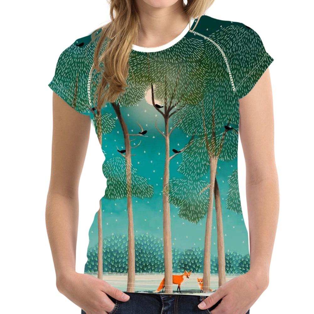 Camiseta de cuello redondo para mujer, camiseta con ilustración de bosque, camiseta transpirable de verano, ropa natural, envío directo 2020 Col Roul Femme
