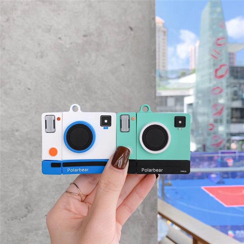 Чехол для AirPods 2, 3D чехол для ретро-камеры, мультяшный Мягкий силиконовый чехол для беспроводных наушников, чехол для Apple Airpod, симпатичный чех... чехол