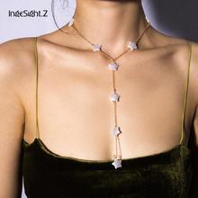 IngeSight.Z Punk Imitation Pearl Star Choker Necklace Collar Statement Boho Long Chain Necklace Women Girls Jewelry Accessories