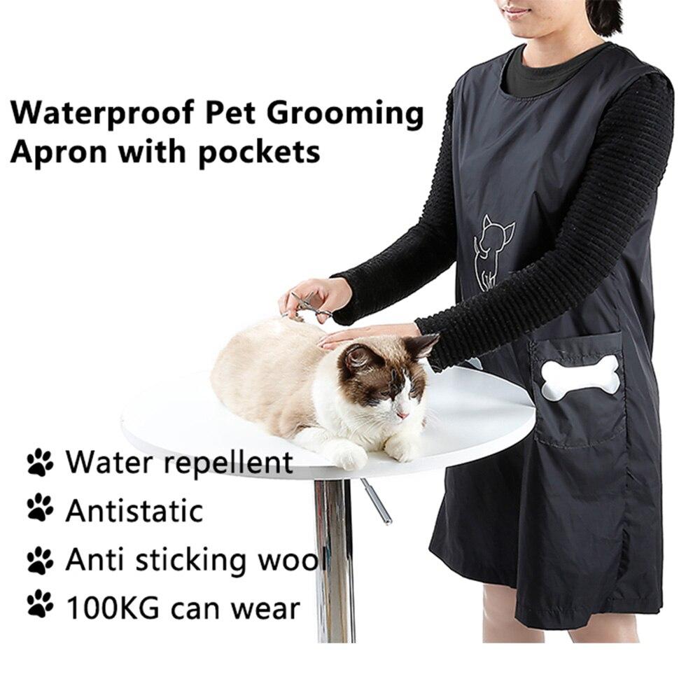 Geral sem Mangas Maiô com Bolsos Shop Roupas Esteticista Impermeável Anti-vara Cabelo Grooming Avental Gato Cachorro G1103 Pet