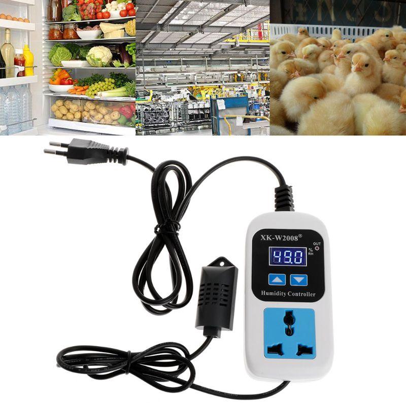 110-220V 00%~99%RH Digital Humidity Controller Humidity Moisture Control Switch Socket Outlet Inlet EU Plug Hygrometer Hygrostat