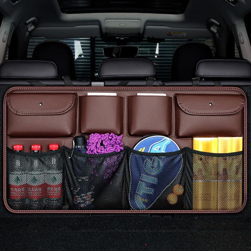 Trasero para asiento trasero de coche bolsa de almacenamiento de cuero de la PU de Auto asiento trasero neto en el organizador del tronco guardar orden Interior Accesorios