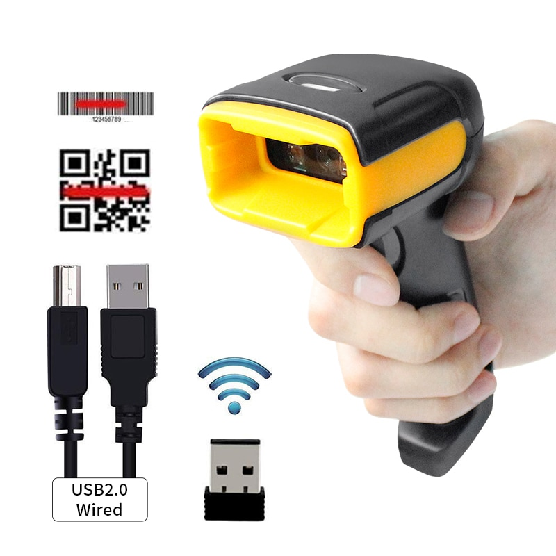 H1W Wireless 2D Barcode Scanner And H2WB Bluetooth 1D/2D QR Bar Code Reader Support Mobile Phone iPad Handheld Reader