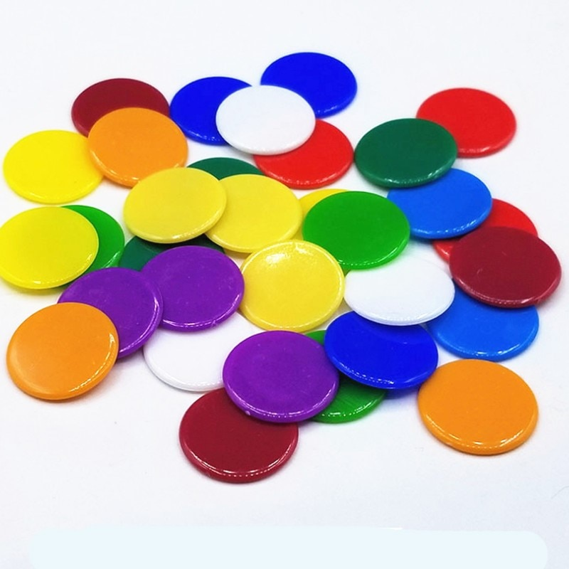 18 colors 19mm Creative Gift Accessories Plastic Poker Chips Casino Bingo Markers Token Fun Family Club Game Toy 50PCS/Set