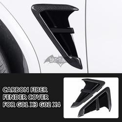 Look/m olhar fender guarnição de fibra carbono para bimmer g01 x3 g02 x4 f97 x3m f98 x4m 2018 + ventilação lateral adesivos estilo do carro ventilação de ar capa