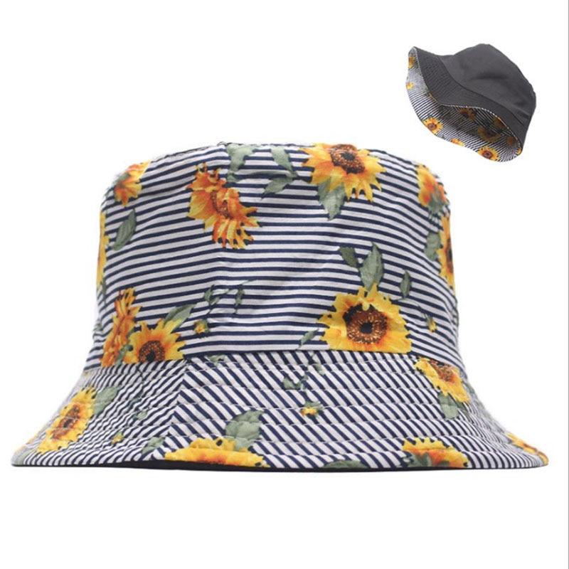 New Summer Two Side Sunflower Cotton Bucket Hat Men Women Panama Fashion Bob Fisherman Hat Outdoor Travel Sunscreen Fishing Cap