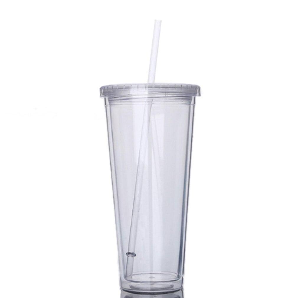 Vaso de viaje portátil de 650ML con pajita, botella de agua de jugo de Frutas de plástico deportiva, vaso de doble capa de plástico sellado