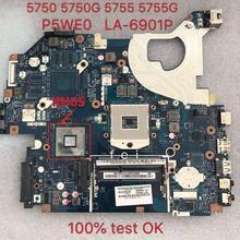 Pour ordinateur portable carte mère pour ACER Aspire 5750 5750g 5755 5755g ordinateur portable carte mère P5WE0 LA-6901P DDR3 100% test OK