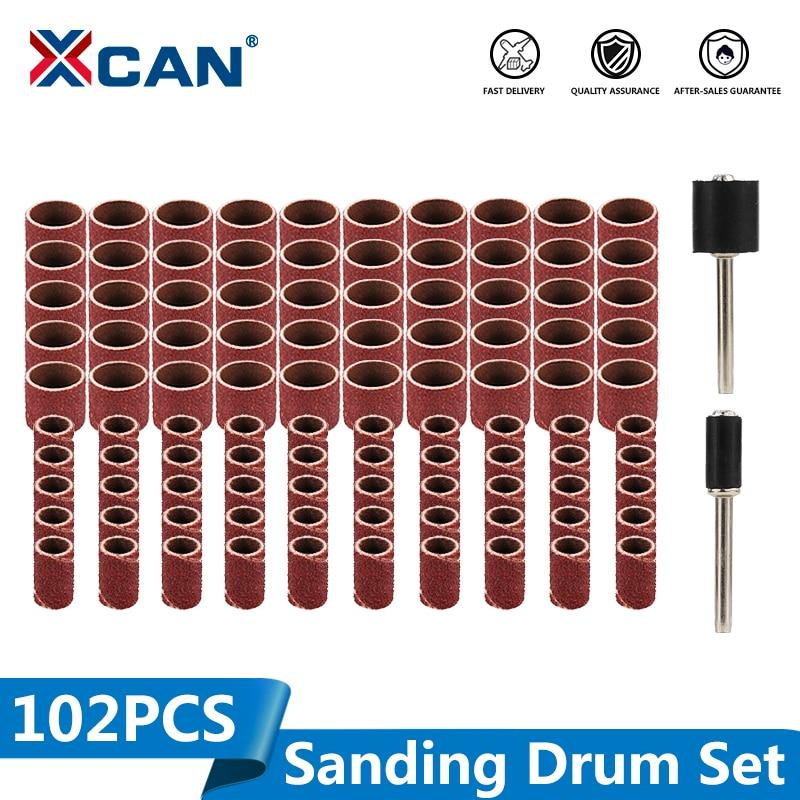 Xcan 80 # bandas de lixamento 102 pçs/set 1/4 1/2 Polegada lixamento tambor conjunto com 3.175mm haste mandrels para dremel ferramentas acessórios