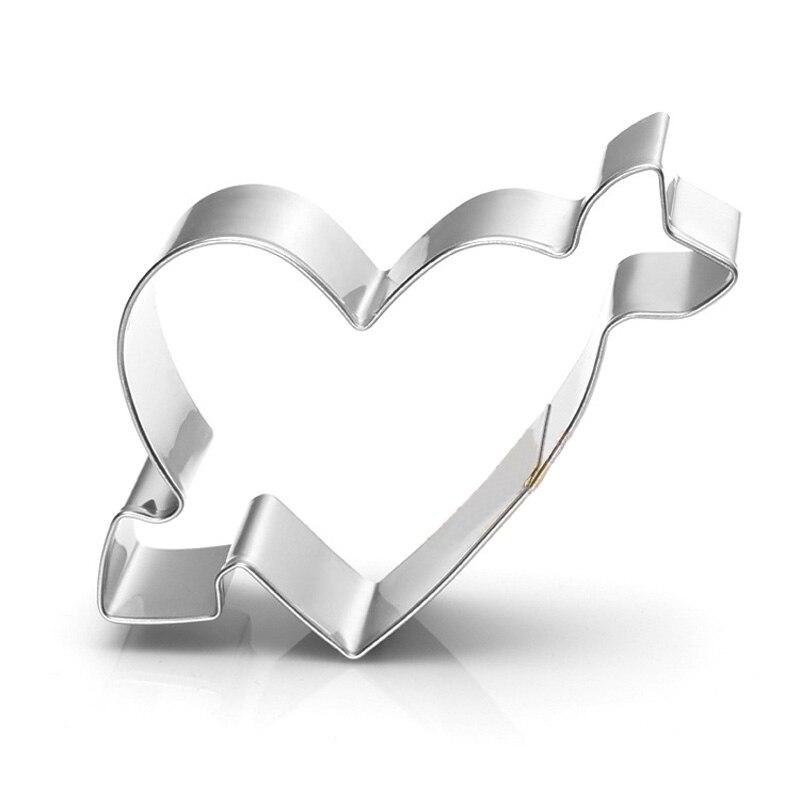 Cortador de galletas de acero inoxidable con forma de corazón de flecha, herramientas para hornear azúcar, cortador circular de galletas de Mousse de frutas y verduras