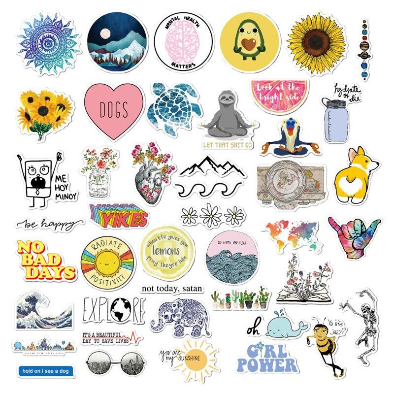 Pegatinas bonitas de 45 uds, pegatinas a la moda para adolescentes, pegatinas para niñas, botella de agua para portátil DIY PS4 Estuche De Viaje, pegatina de piel de aire para Moto Macbbook