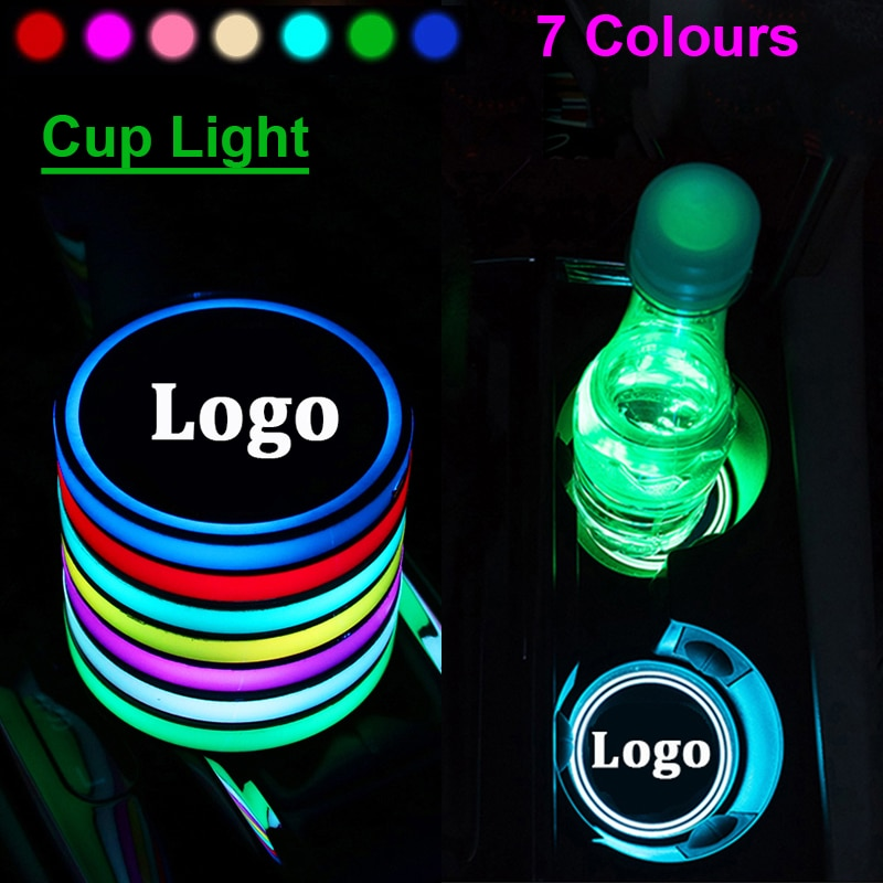 Logo para coche de 2 uds., soporte para vaso de luz LED, luces de ambiente coloridas para Ford Mondeo mk4 focus 2 3 ranger kuga mk2