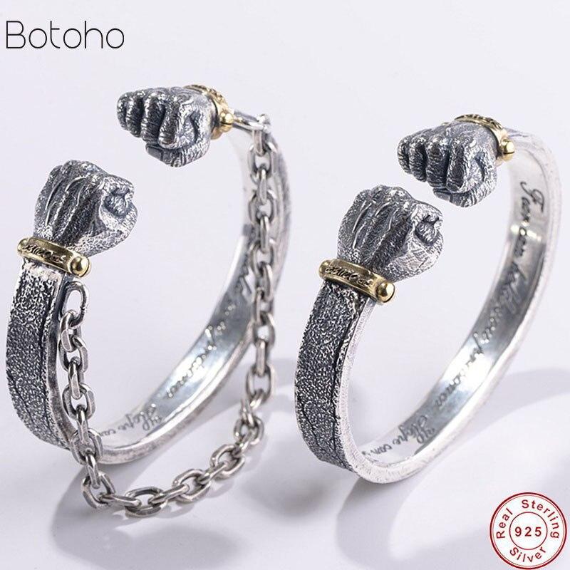 Heren Bangle 100% Echt 925 Sterling Zilveren Kleur Creative Vuist Armband Mannen Armband Mannelijke Kerst Fijne Sieraden Dubbele Boksen
