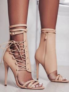 Summer Ultra-fine High-heeled Women's Shoes Cross Straps Belt Buckle Sandals Roman Women's Sandals Sexy Hollow Peep Toe Sandals