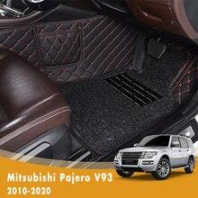 RHD luxe Double couche fil boucle tapis de sol de voiture pour Mitsubishi Pajero V93 2010 2011 2012 2013 2014 2015 2016 2017 2018 2019 2020