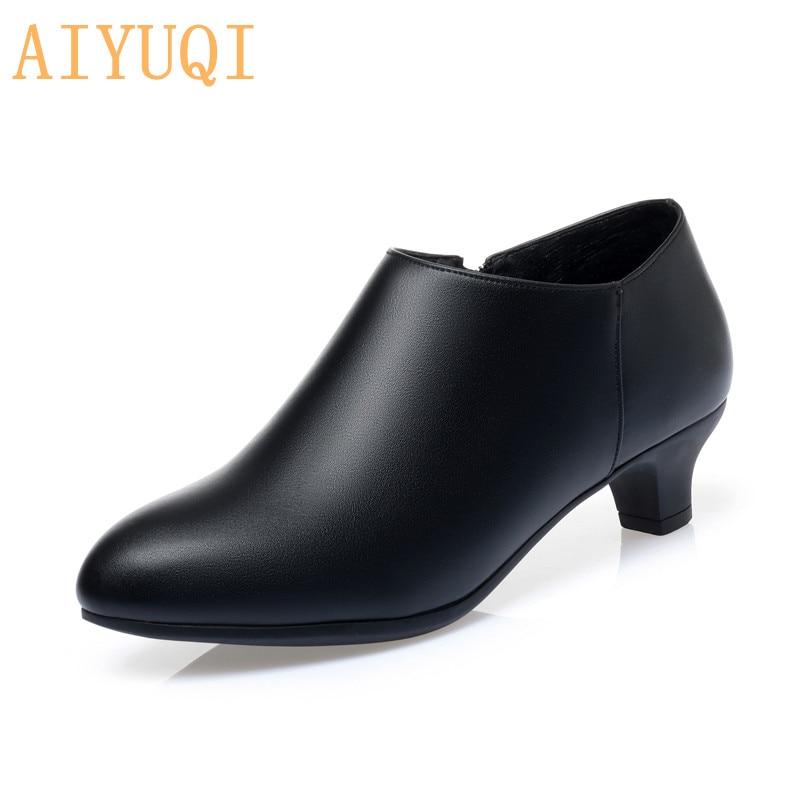 AIYUQI السيدات أحذية كبيرة الحجم 2021 جديد المرأة الخريف أحذية منتصف كعب أحذية عمل النساء موضة تخفيف مكتب السيدات الأحذية